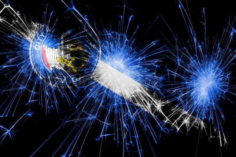 Het vuurwerk fonkelende vlag van Las Vegas, Nevada Nieuwjaar, Kerstmis en Nationaal dagconcept De Verenigde Staten van Amerika stock illustratie