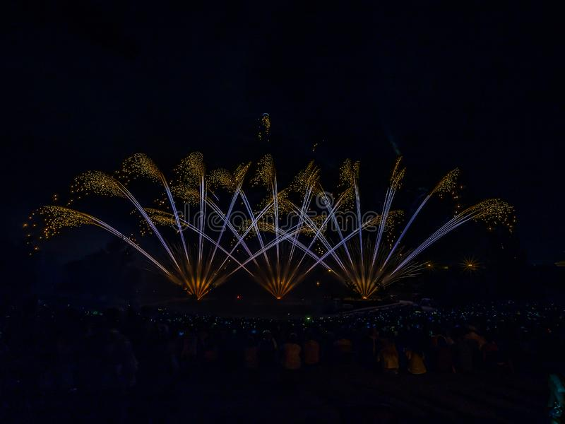Het vuurwerk met silhouet van publiek royalty-vrije stock afbeeldingen