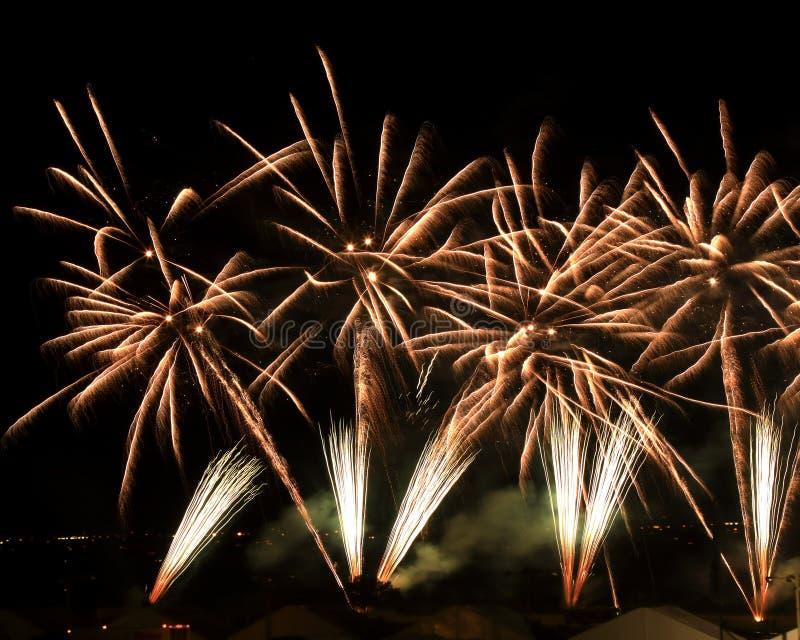 Het vuurwerk van het de Ballonfestival van Albuquerque stock foto's