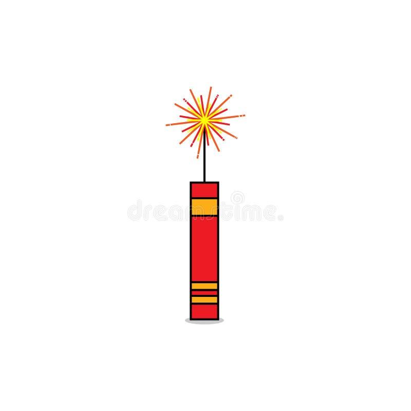 Het vuurwerk van de brandcracker voor festival vectorontwerp royalty-vrije illustratie