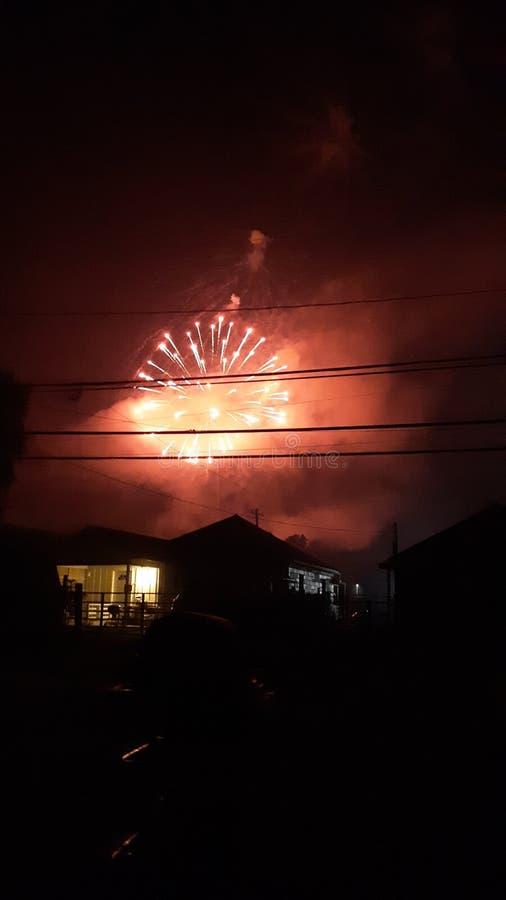 Het vuurwerk van de onafhankelijkheidsdag bij nacht stock fotografie