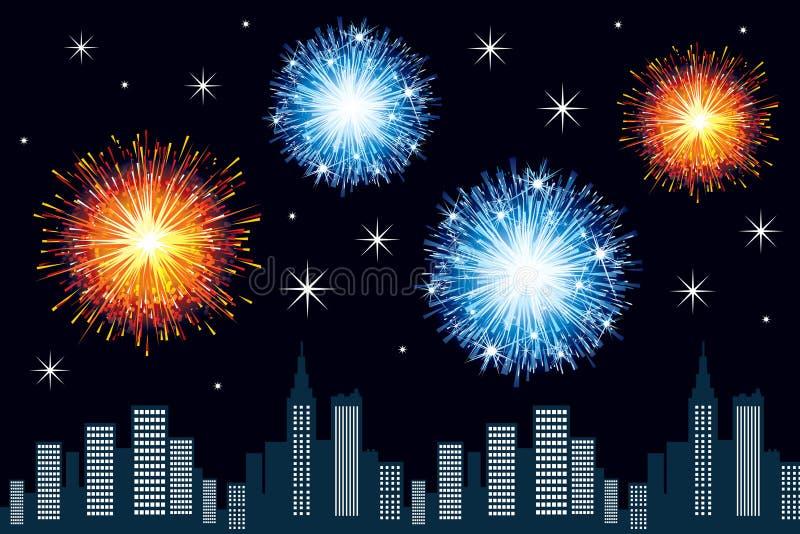 Het vuurwerk van de stad stock illustratie