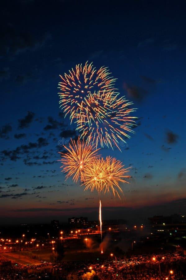 Het vuurwerk van de viering stock foto's