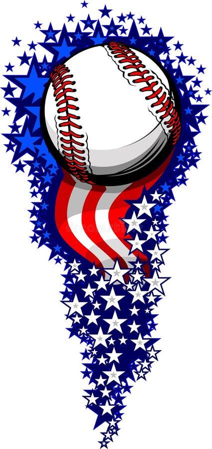 Het Vuurwerk van het honkbal met Vlaggen en Sterren vector illustratie