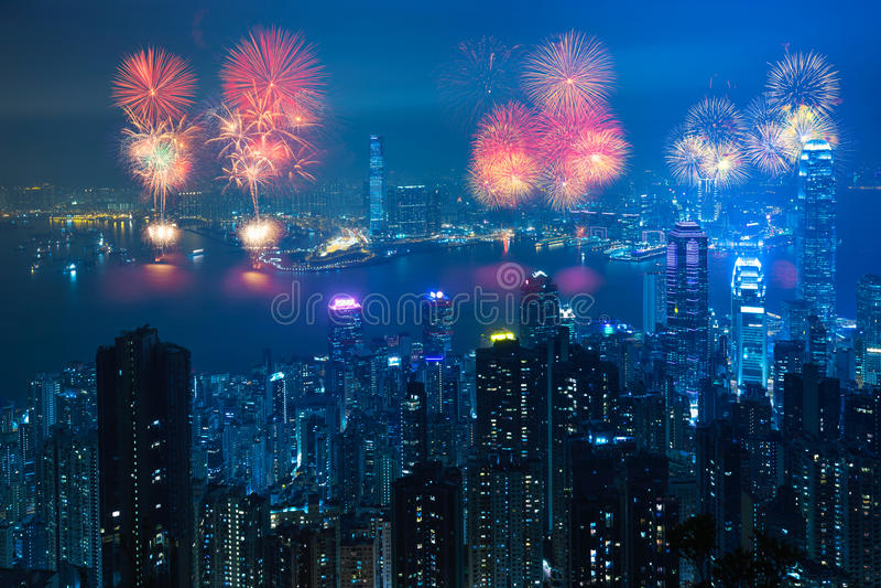 Het Vuurwerk van Hongkong stock afbeelding