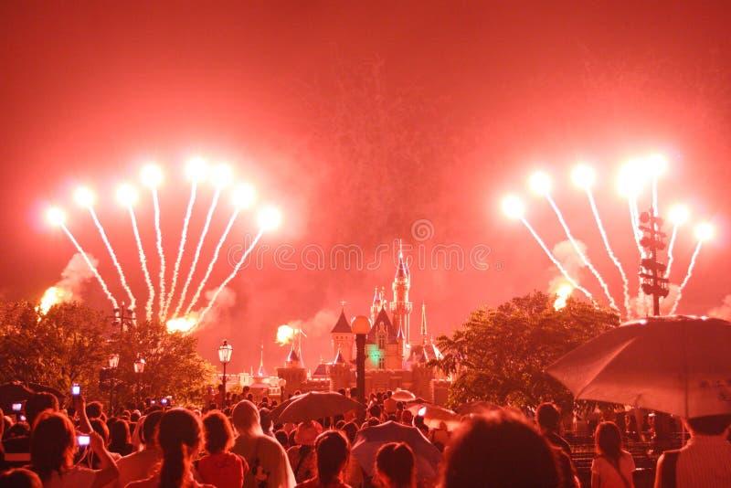 Het Vuurwerk van Hongkong Disneyland toont stock foto's