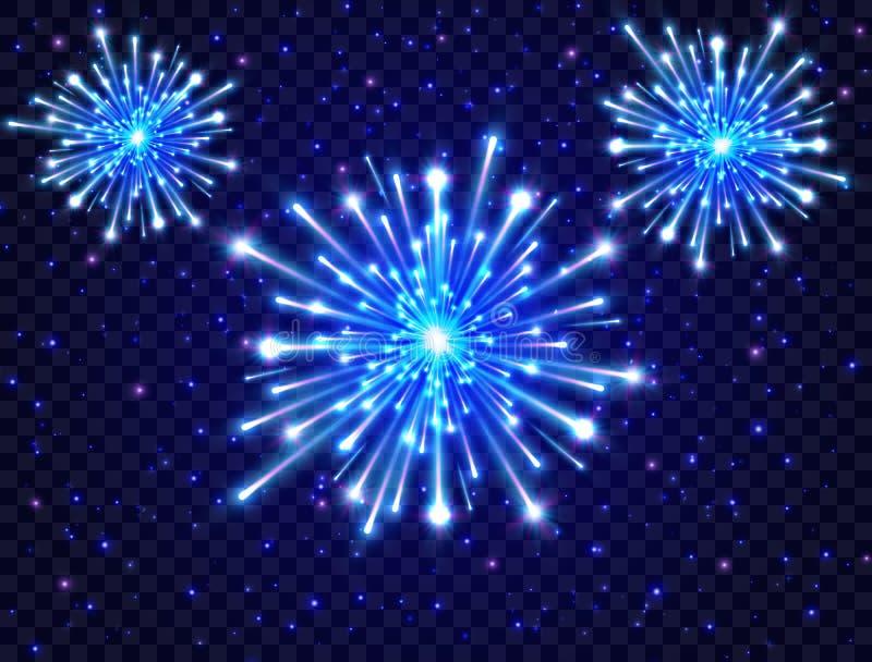 Het vuurwerk van het kleurenneon in de nachthemel Helder vuurwerk op transparante achtergrond Nieuw jaarontwerp Blauwe steruitbar royalty-vrije illustratie