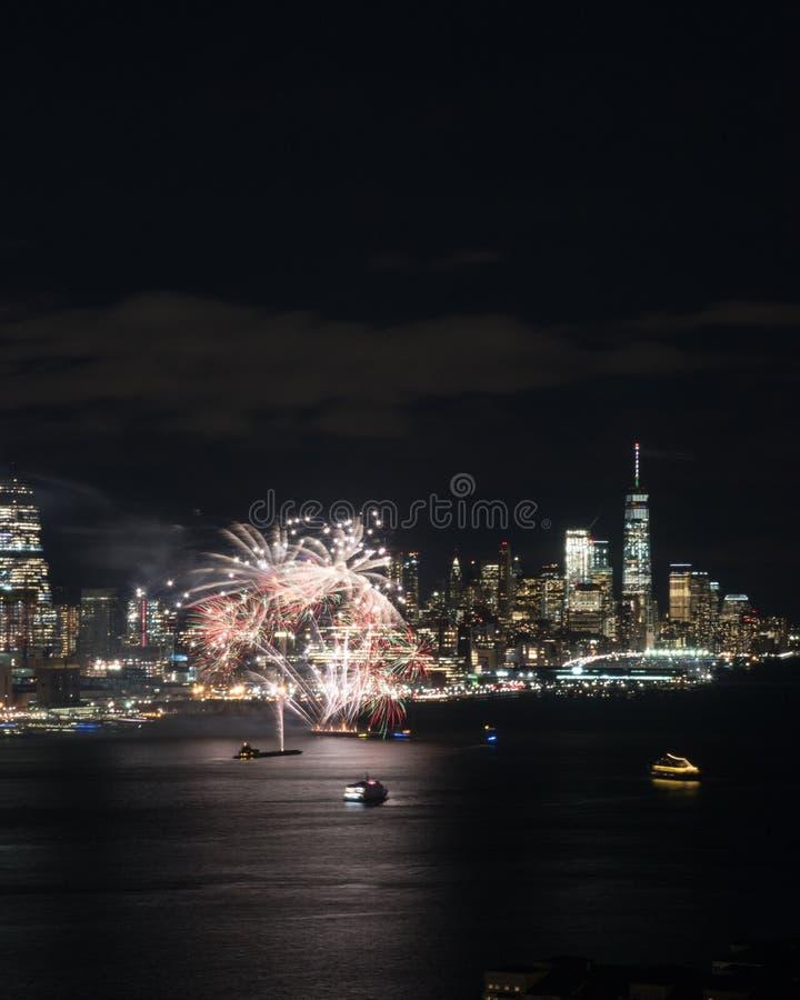 Het vuurwerk van New York royalty-vrije stock afbeeldingen