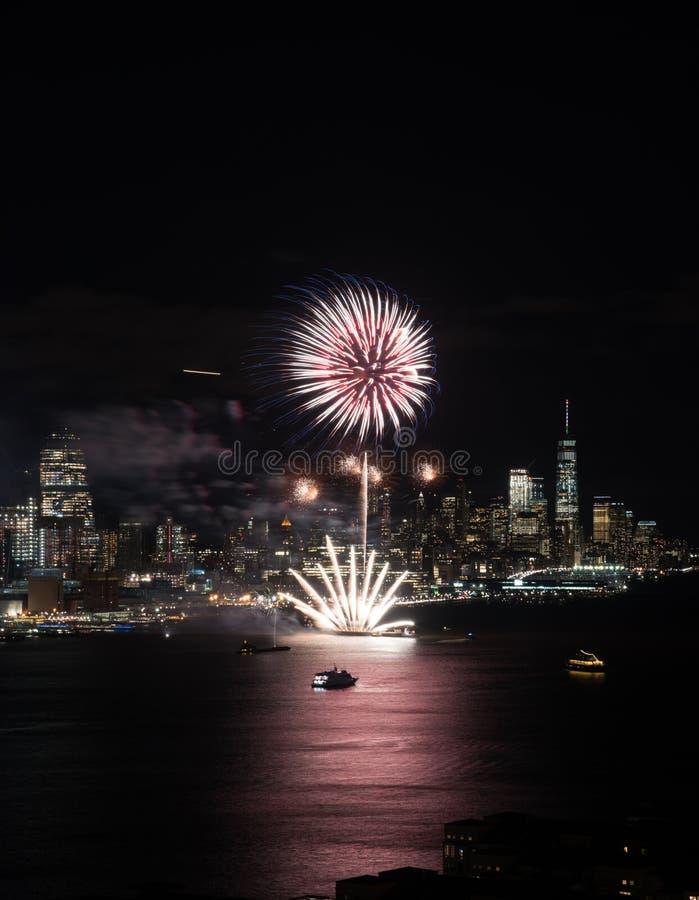 Het vuurwerk van New York stock afbeelding