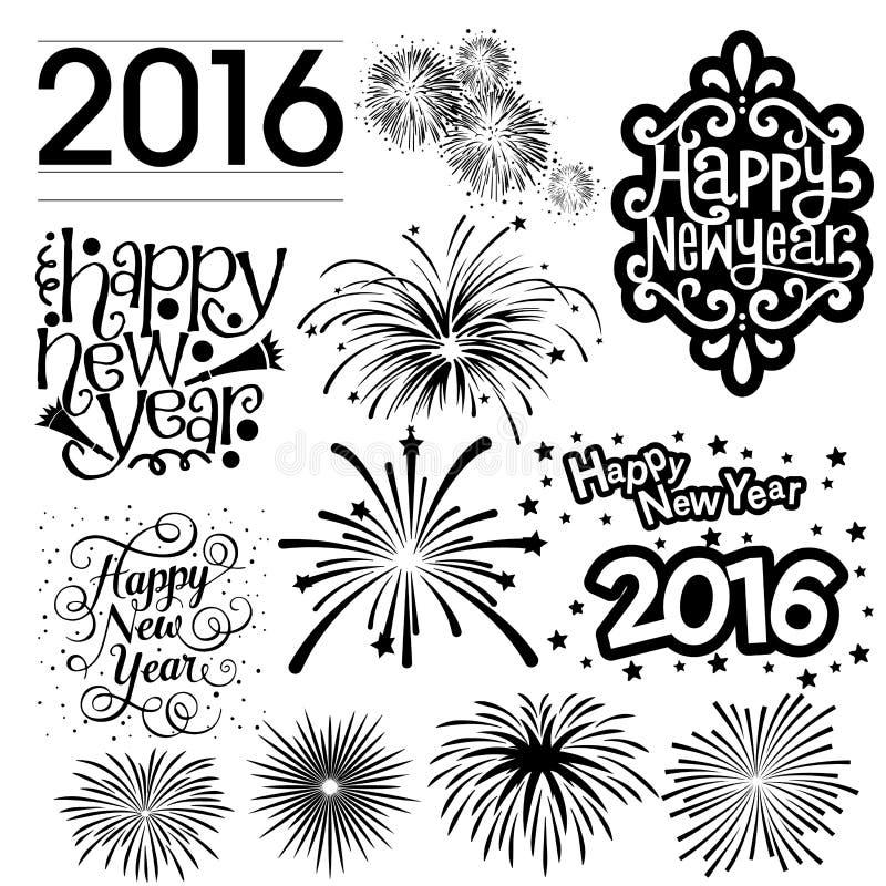 Het Vuurwerkpartij van het nieuwjaar 2016 Vectorsilhouet stock foto's