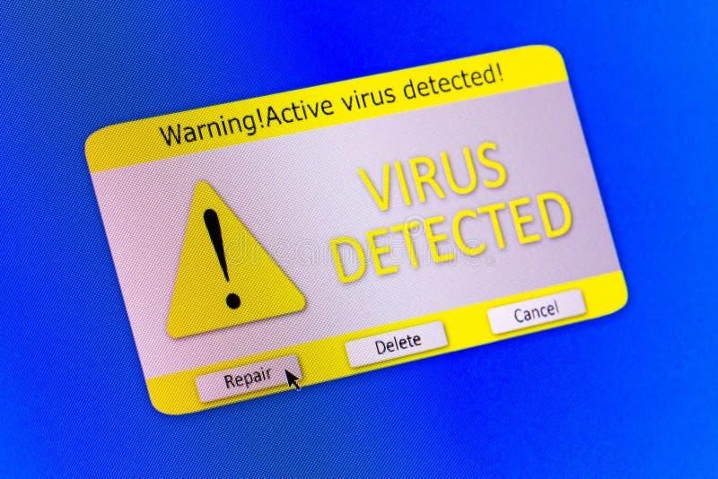 Het waakzame bericht van het virus stock fotografie