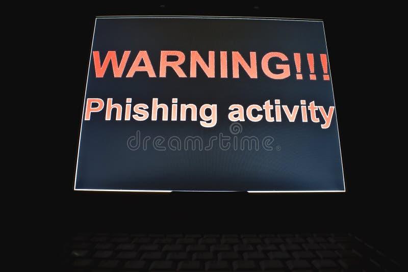 Het waarschuwen!!! phishing activiteit stock foto