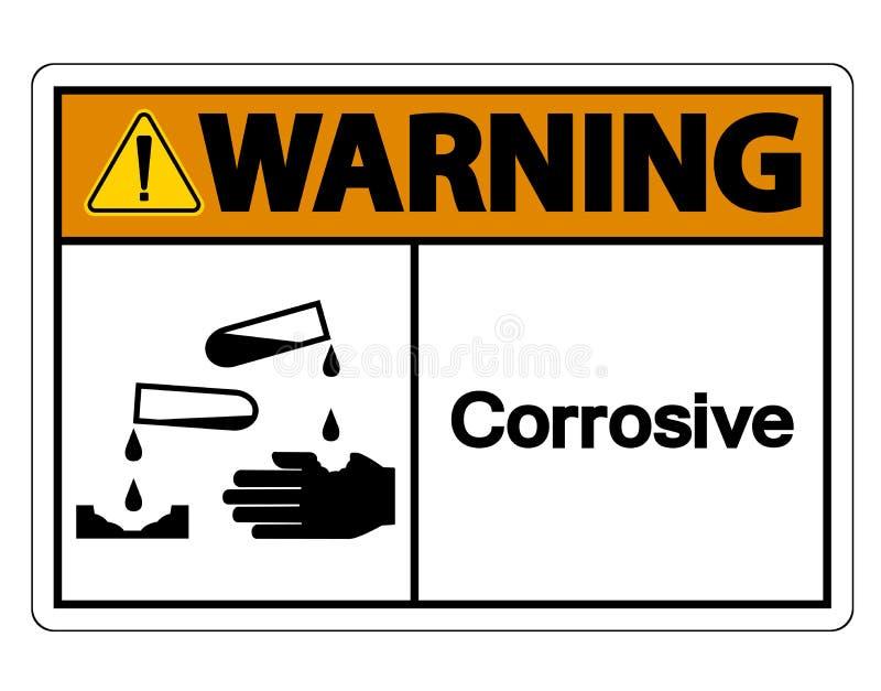 Het waarschuwende Corrosieve Symboolteken isoleert op Witte Achtergrond, Vectorillustratie stock illustratie