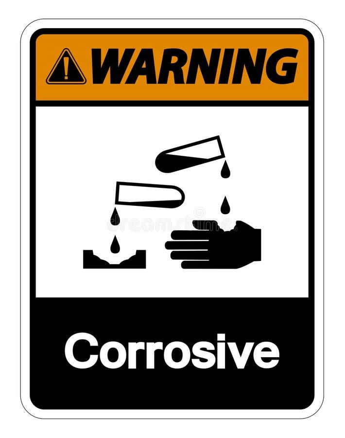 Het waarschuwende Corrosieve Symboolteken isoleert op Witte Achtergrond, Vectorillustratie vector illustratie