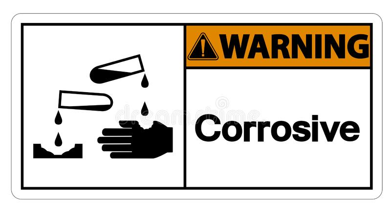 Het waarschuwende Corrosieve Symboolteken isoleert op Witte Achtergrond, Vectorillustratie royalty-vrije illustratie