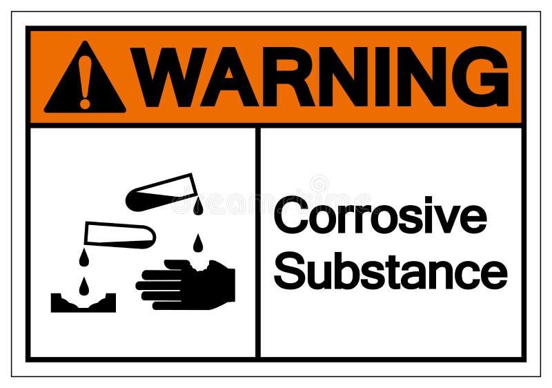 Het waarschuwende Corrosieve Teken van het Substantiesymbool, Vectorillustratie, isoleert op Wit Etiket Als achtergrond EPS10 royalty-vrije illustratie