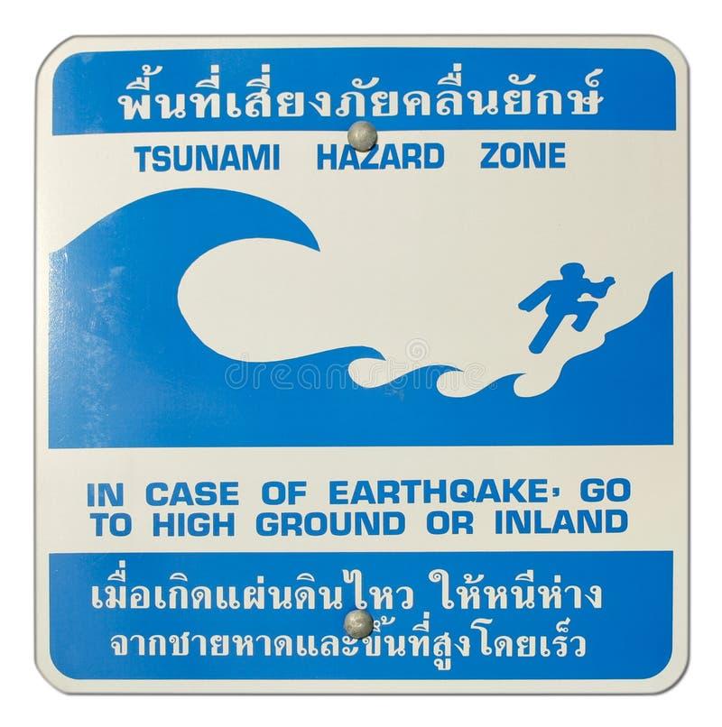 Het waarschuwingssein van de het gevaarstreek van Tsunami stock foto