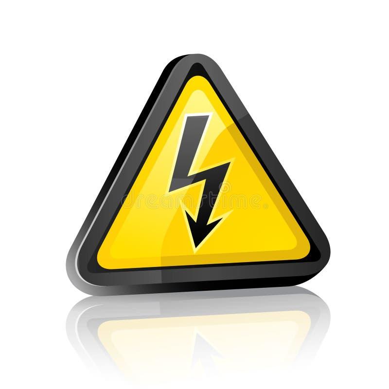 Het waarschuwingssein van het gevaar met hoogspanningssymbool vector illustratie