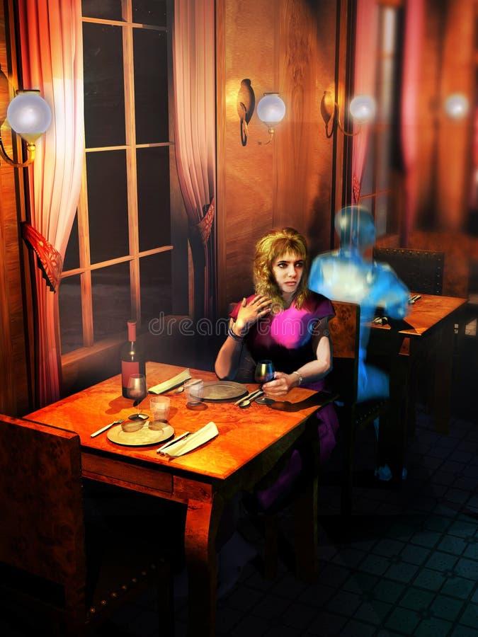 Het wachten bij het restaurant met spoken stock illustratie