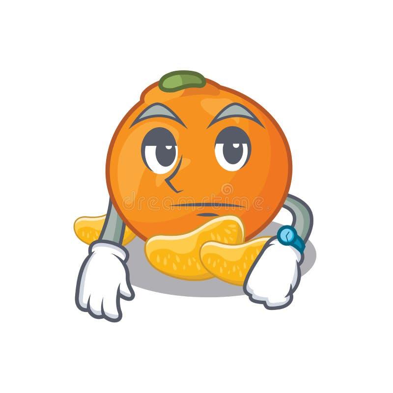 Het wachten mandarijn met in het beeldverhaal wordt geïsoleerd dat vector illustratie