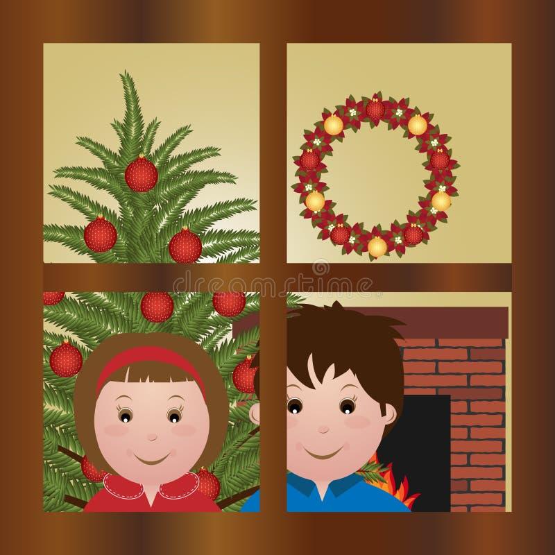 Het wachten op de Kerstman royalty-vrije illustratie