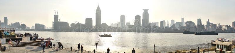 Het waitan panorama van Shanghai stock foto