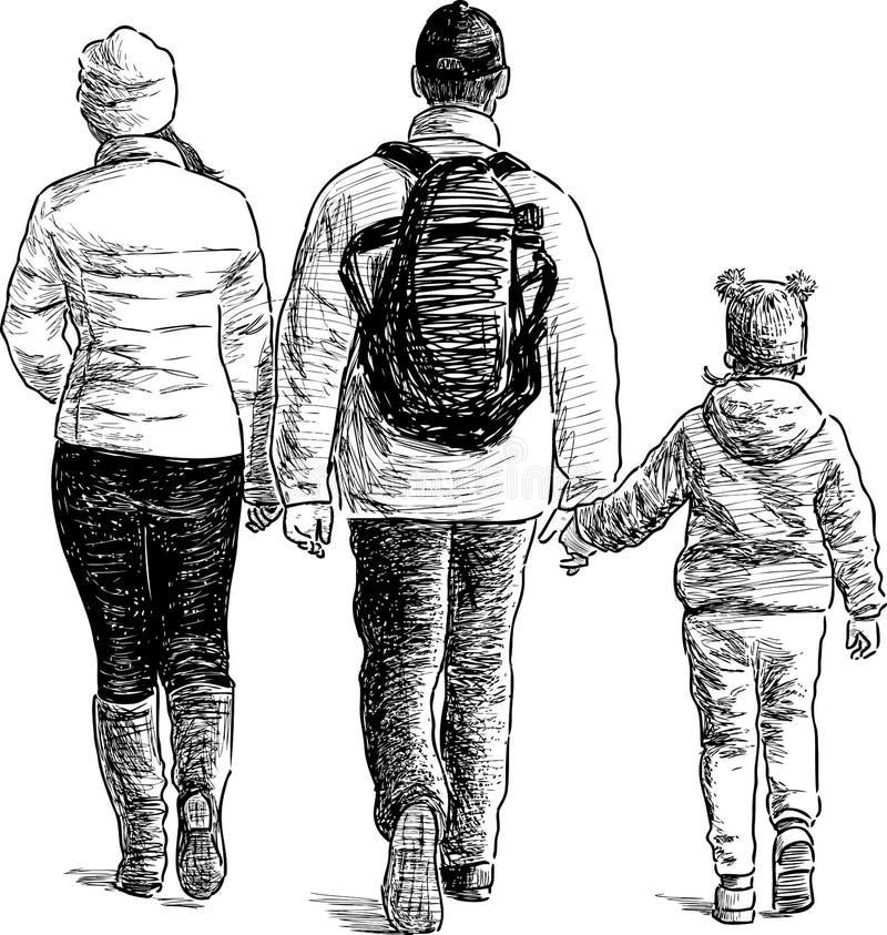 Het wandelen van de familie stock illustratie
