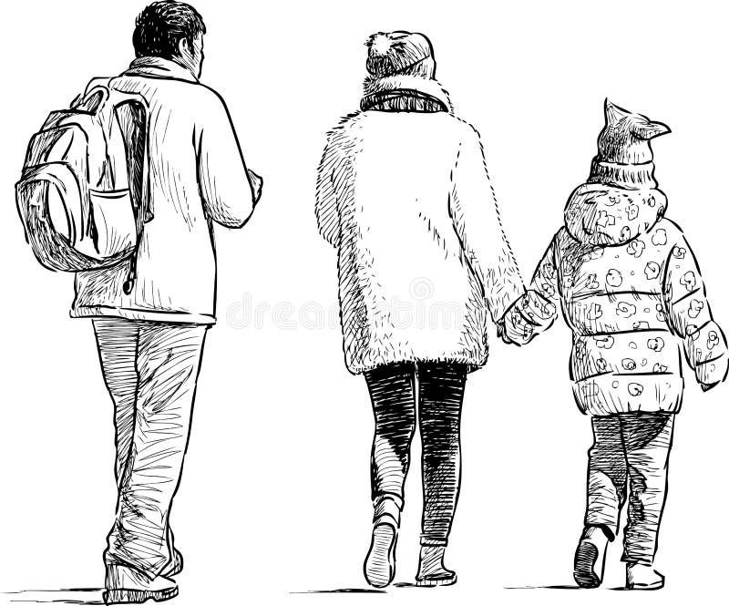 Het wandelen van familie stock illustratie