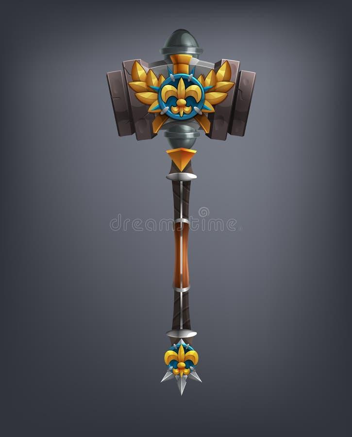 Het wapen van de fantasiehamer voor spel of kaarten royalty-vrije illustratie