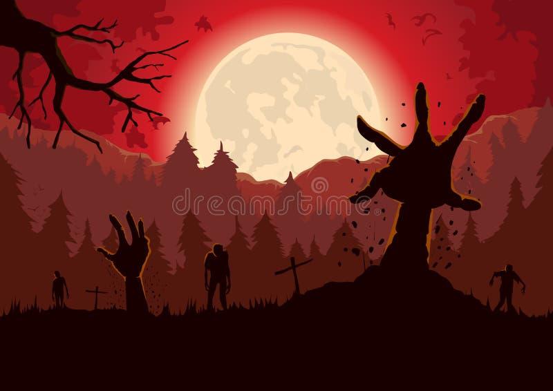 Het wapen van de silhouetzombie uit van grond van graf in een volle maannacht stock illustratie