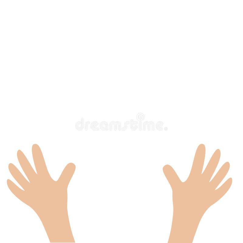 Het wapen van twee handenpalmen met vingers Sluit omhoog lichaamsdeel Het helpen van hand Witte achtergrond Geïsoleerde Vlak Ontw stock illustratie