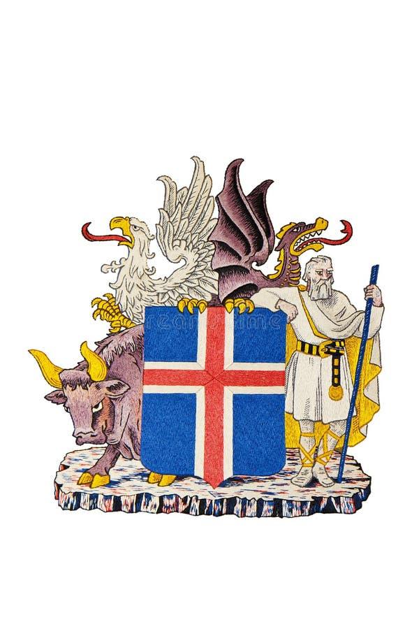 Het Wapenschild van IJsland dat op Wit wordt geïsoleerdt vector illustratie