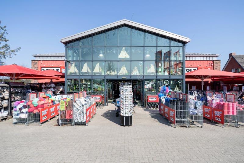 Het warenhuis van STOLZ in St peter-Ording, Duitsland stock afbeelding