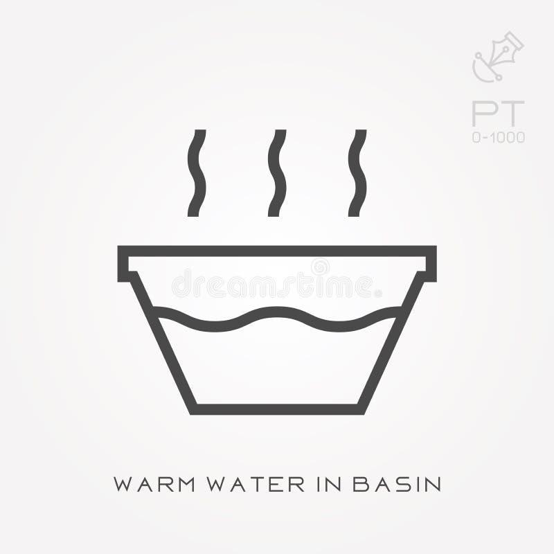 Het warme water van het lijnpictogram in bassin stock illustratie