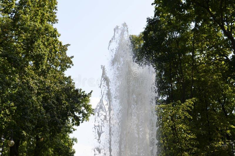 Het water die van het fonteinwater stromen stock foto