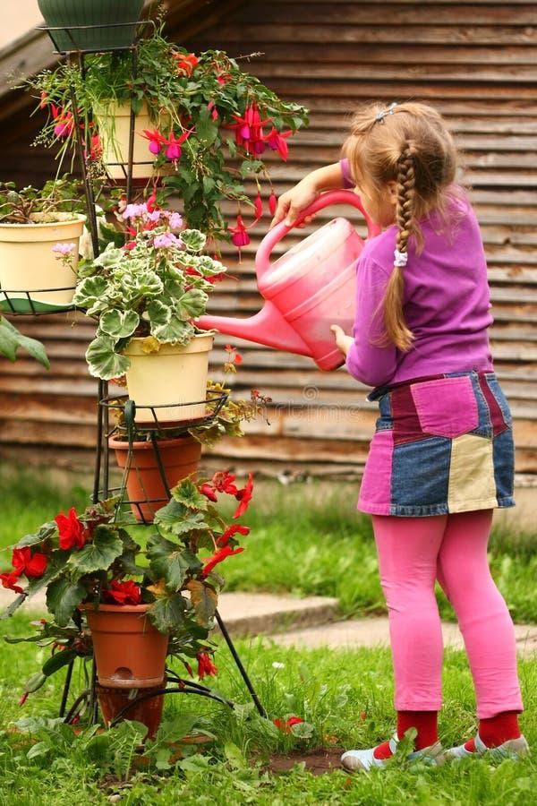 Het water geven van het meisje bloemen stock afbeelding