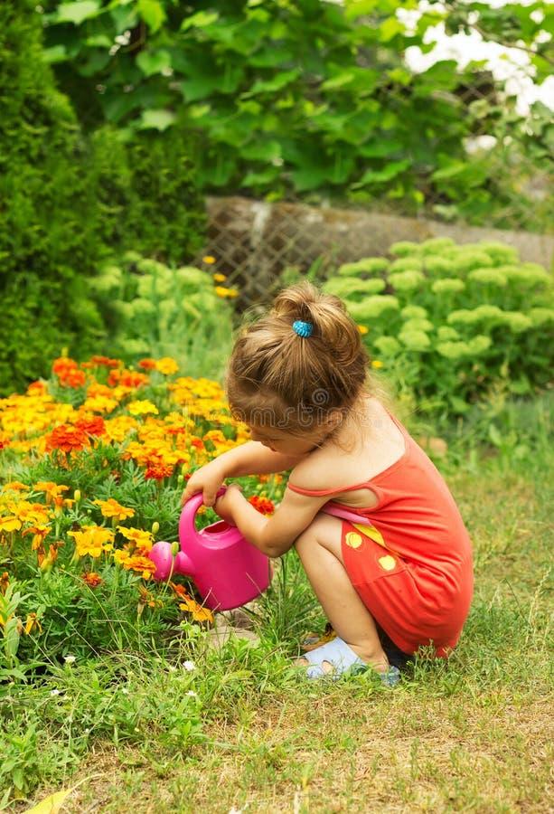 Het water geven van het meisje bloemen in de tuin royalty-vrije stock foto