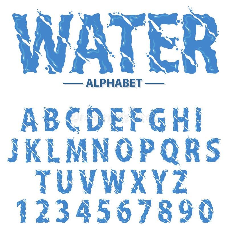 Het water laat vallen alfabet, de Moderne futuristische letters van de plonskrantekop en getallen, abstracte vloeibare doopvontty vector illustratie