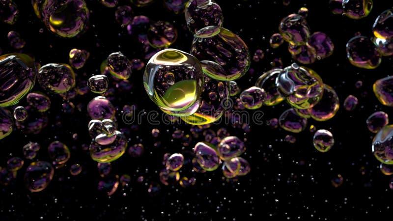 Het water laat vallen bellen op zwarte achtergrond het 3d teruggeven stock foto