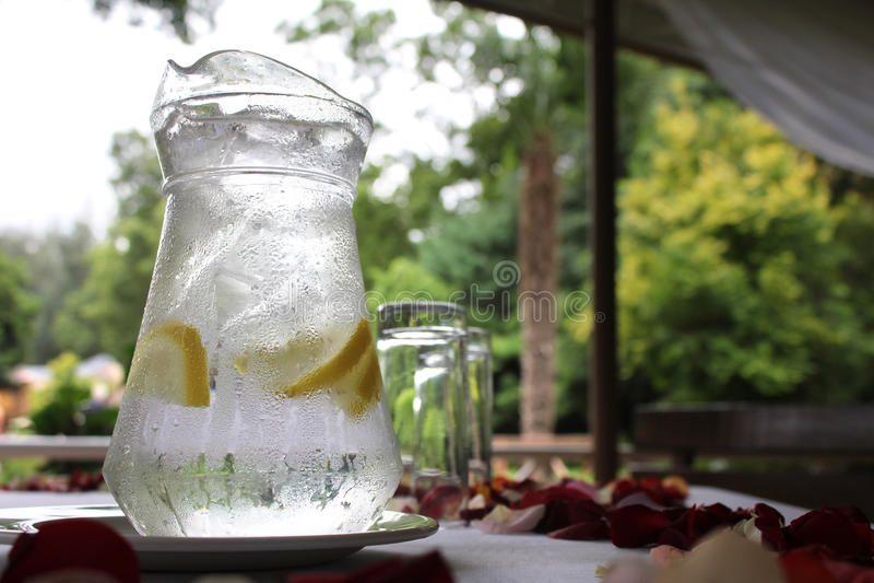 Het Water van de glaskruik stock afbeelding