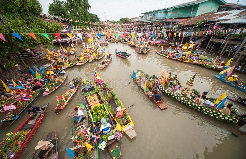 Het water van de Knulchado van het kaarsfestival stock foto's