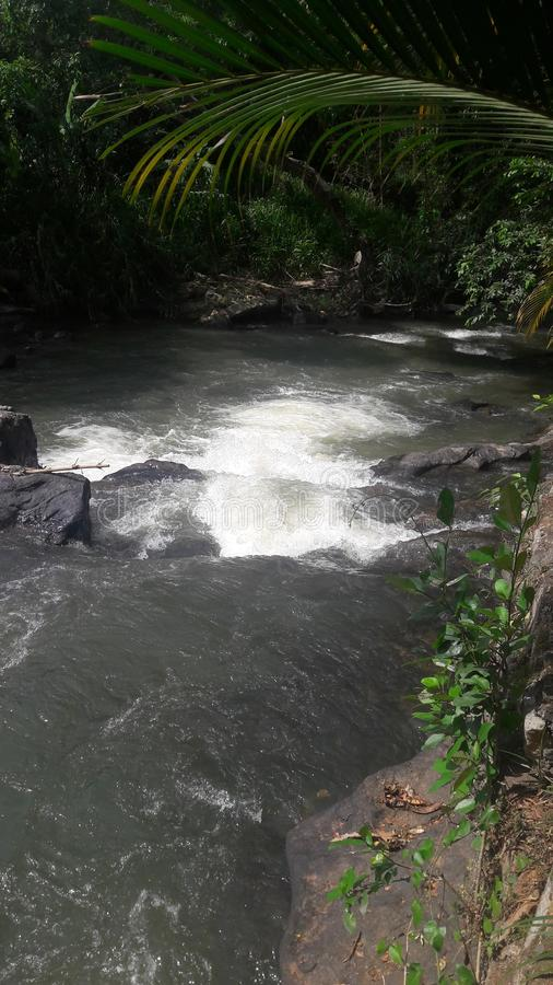 Het water van de rivier stroomt onderaan snelle Aanrakingen tegen de rotsen en geworden wit royalty-vrije stock foto's