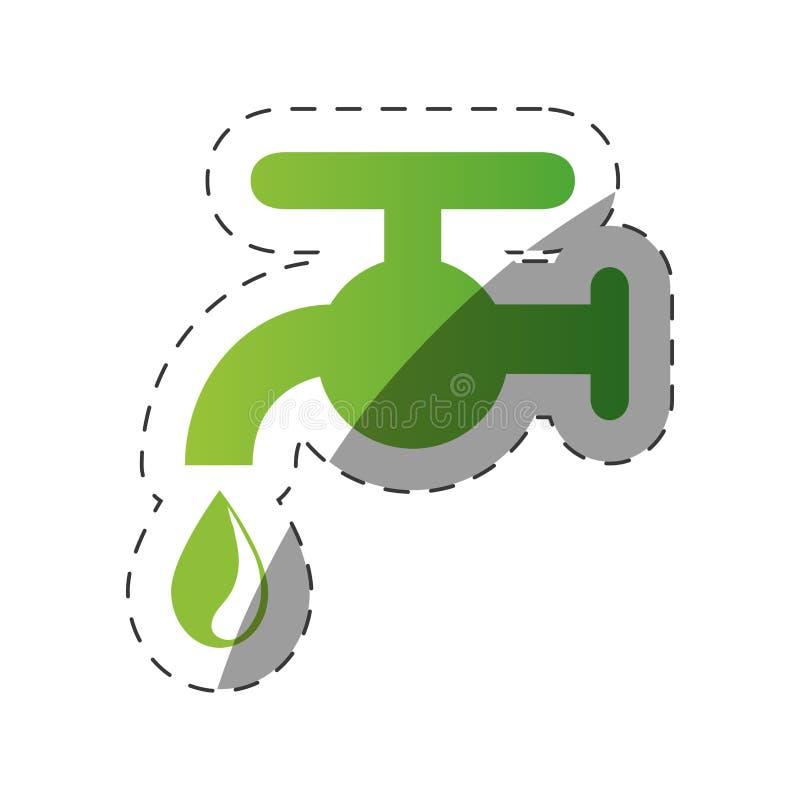 het waterdaling van de milieutapkraan royalty-vrije illustratie