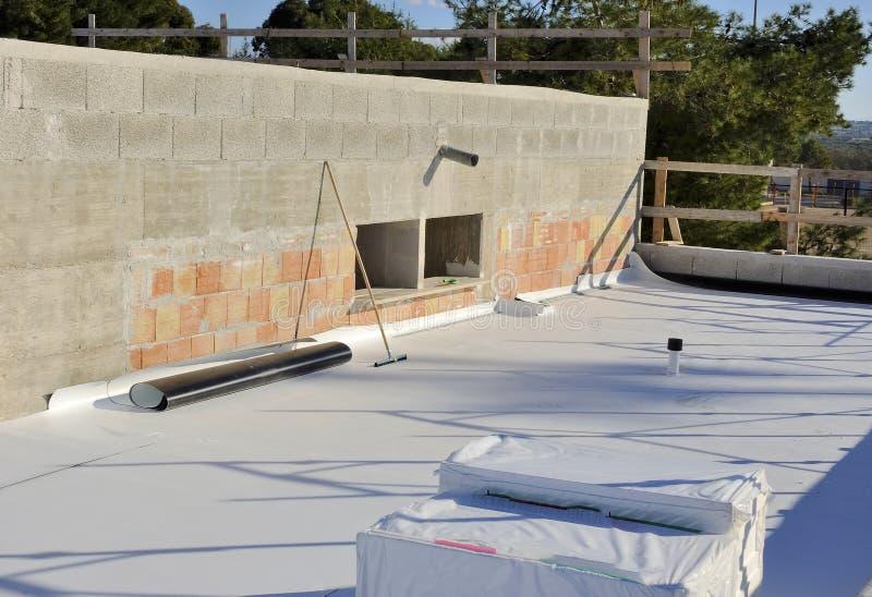 Het waterdicht maken en isolatie het terras van pvc stock foto's