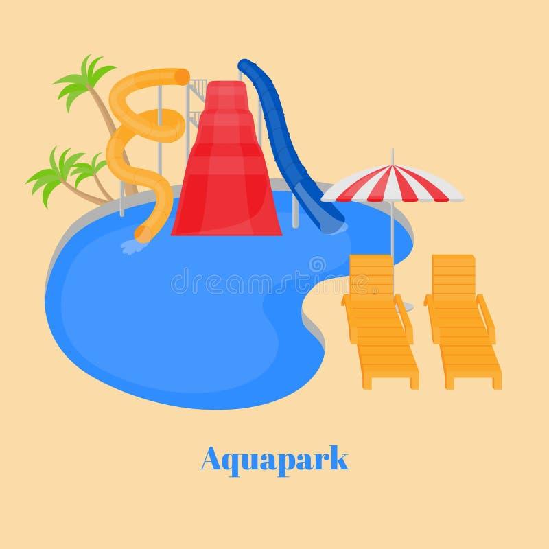 Het waterpark van de beeldverhaalfamilie met dia's, pool vector illustratie