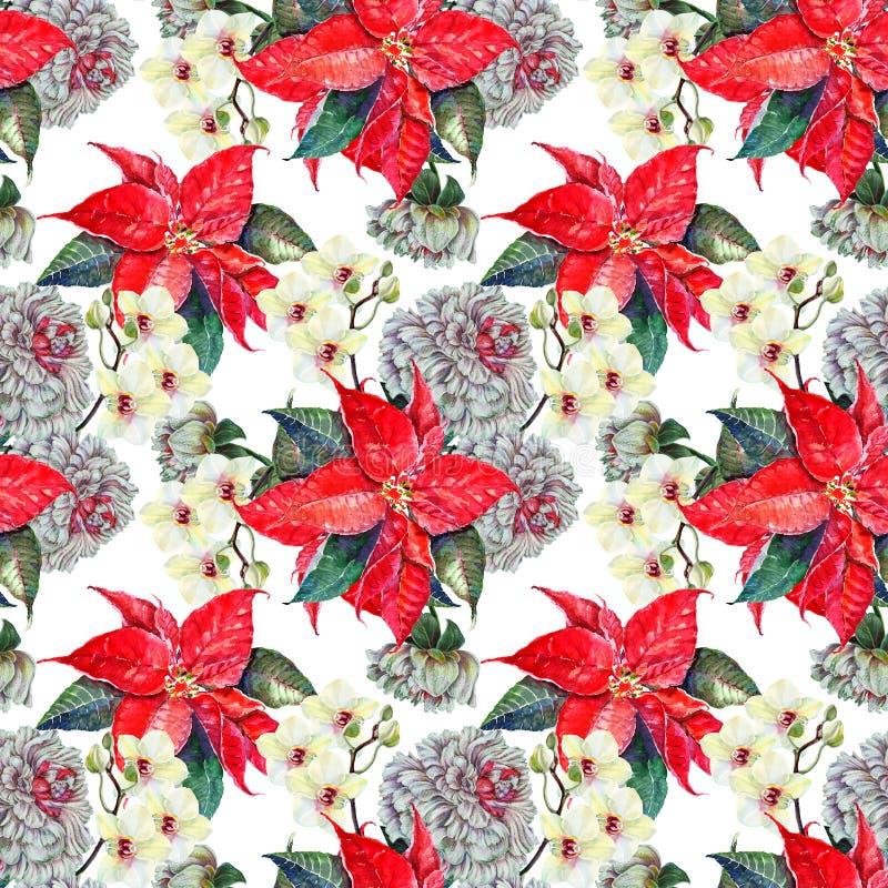 Het waterverfboeket bloeit poinsettia, orchidee met witte pioen Naadloos patroon op een witte achtergrond vector illustratie