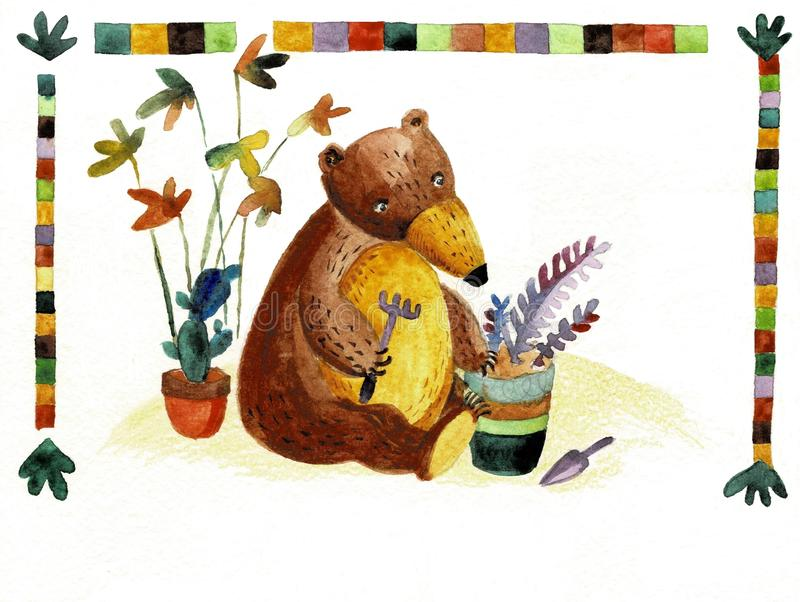 Het waterverfdier draagt Hand getrokken illustratie De herfst, bos stock illustratie