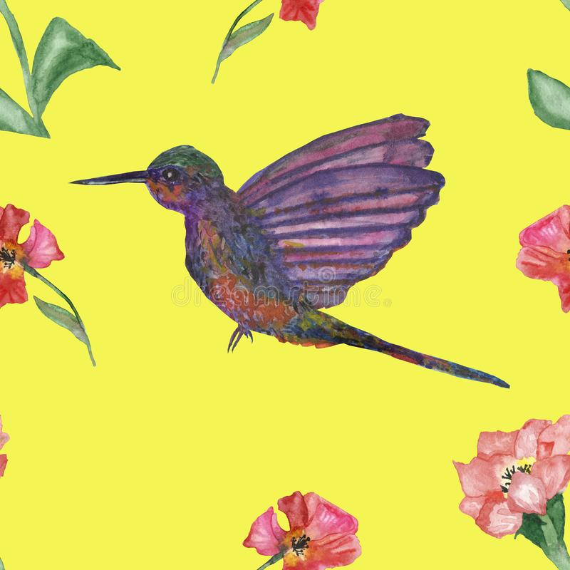 Het waterverfpatroon met Kolibrievogel en hibiscus bloeit op een gele achtergrond, met de hand geschilderde waterverf vector illustratie