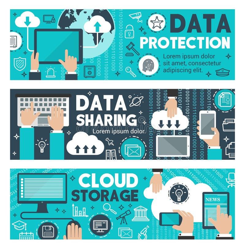 Het Web die van de gegevensbeschermingwolk vectorbanners delen vector illustratie
