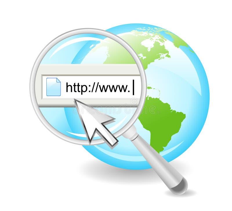 Het Web Internet op Bol zoek royalty-vrije illustratie